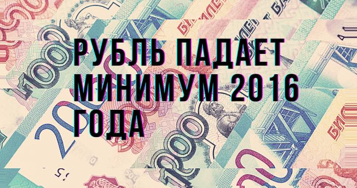 Рубль падает. Минимум 2016 года